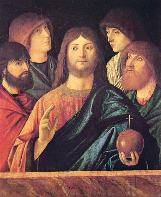 Il Redentore benedicente fra quattro apostoli
