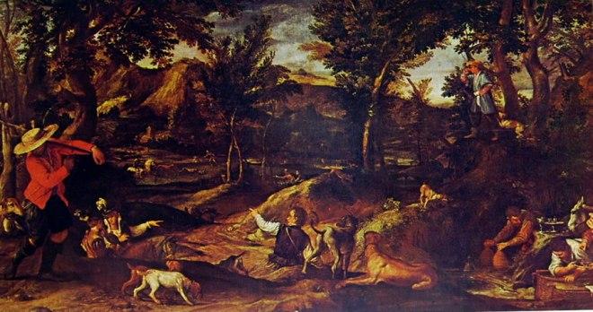 Annibale Carracci: Paesaggio con scena di caccia