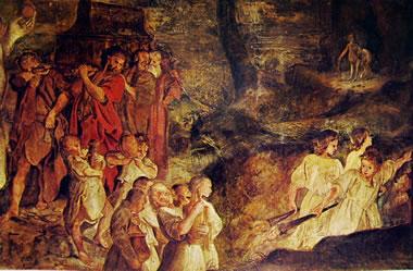 particolare del fregio nella sala di Giasone: Il simulato funerale di Giasone