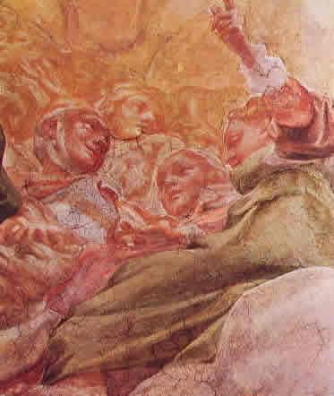 Particolare della cupola con Sante e angeli 110 x 90 cm