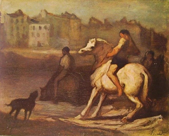 Honoré Daumier: Cavaliere e altre figure presso un fiume