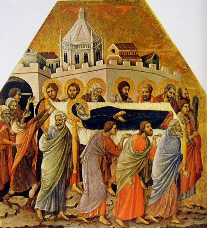 Duccio di Buoninsegna: Maestà - Coronamento (recto) - I funerali della Vergine