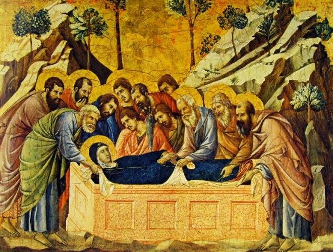 Duccio di Buoninsegna: Maestà - Coronamento (recto) - il seppellimento della Vergine