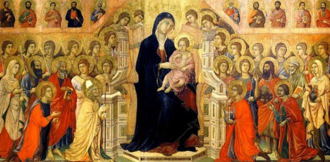 Duccio di Buoninsegna: Maestà - Registro principale (recto) - Madonna in trono con il Bambino,