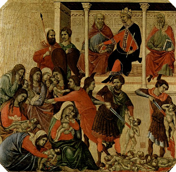 Duccio di Buoninsegna: Maestà - Predella (recto) - La strage degli innocenti