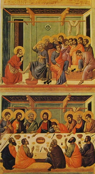 Duccio di Buoninsegna: Maestà - La lavanda dei piedi e l'Ultima cena