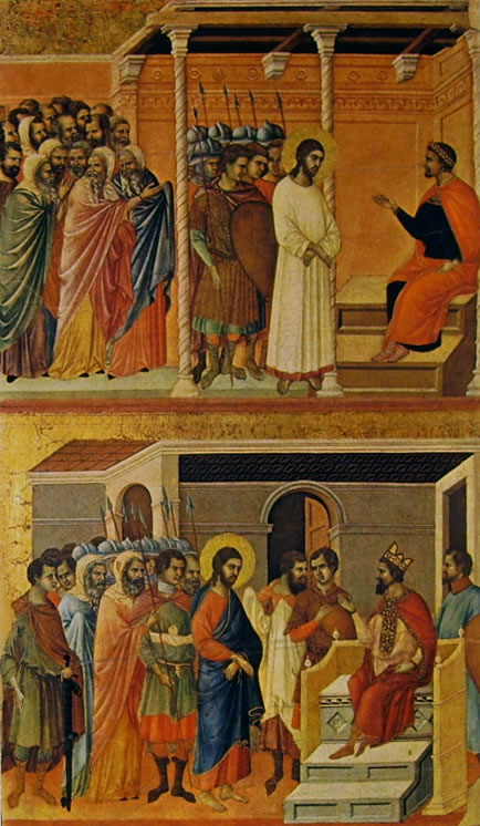 Duccio di Buoninsegna: Maestà - Cristo davanti a Pilato e Cristo davanti ad Erode