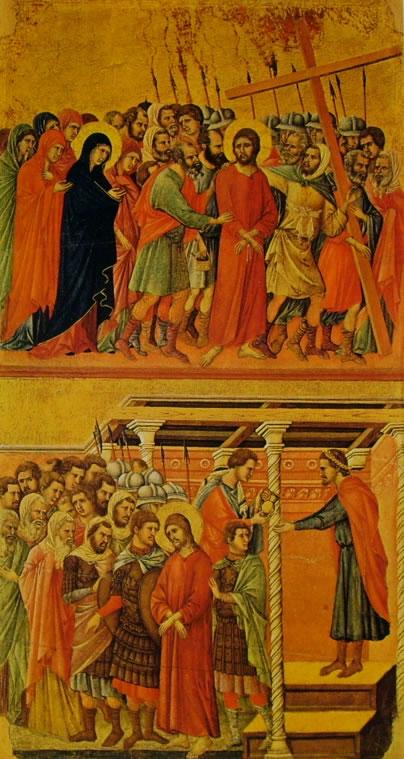 Duccio di Buoninsegna: Maestà - L'andata al Calvario e Pilato si lava le mani
