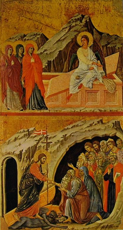 Duccio di Buoninsegna: Maestà - Le Marie al Sepolcro e La Discesa al limbo