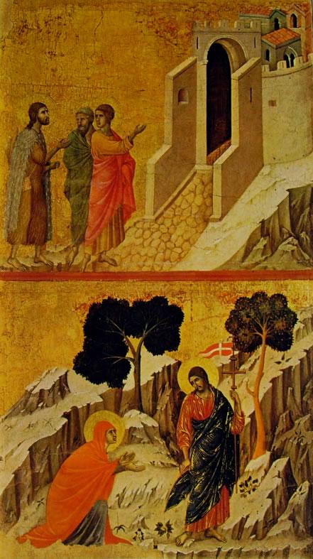 Duccio di Buoninsegna: Maestà - Cristo e i pellegrini verso Emmaus e L'Apparizione di Cristo alla Maddalena