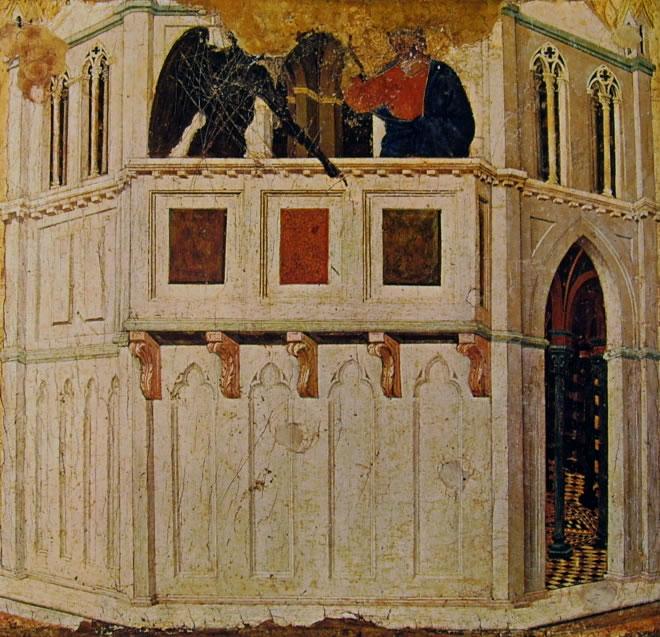 Duccio di Buoninsegna: Maestà - La Tentazione di Cristo sul tempio