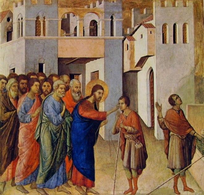 Duccio di Buoninsegna: Maestà - La guarigione del cieco