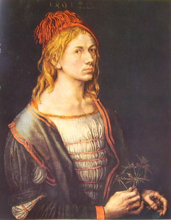 Albrecht Dürer: Autoritratto con fiore d'eringio