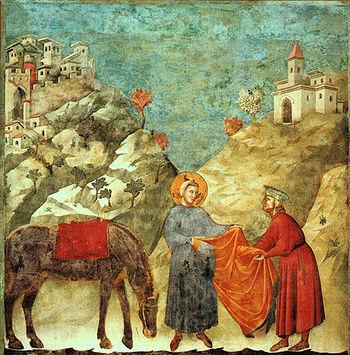 Giotto: La donazione del mantello al povero gentiluomo