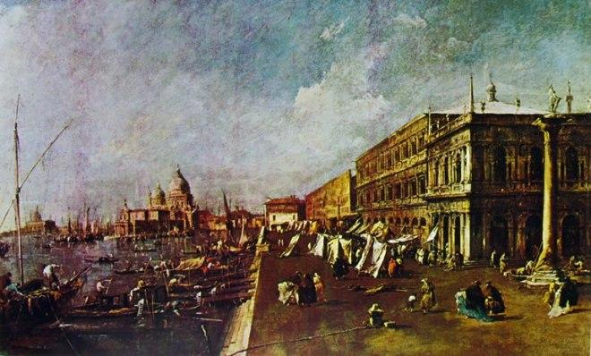 Francesco Guardi: Il molo con la libreria, verso la chiesa della salute