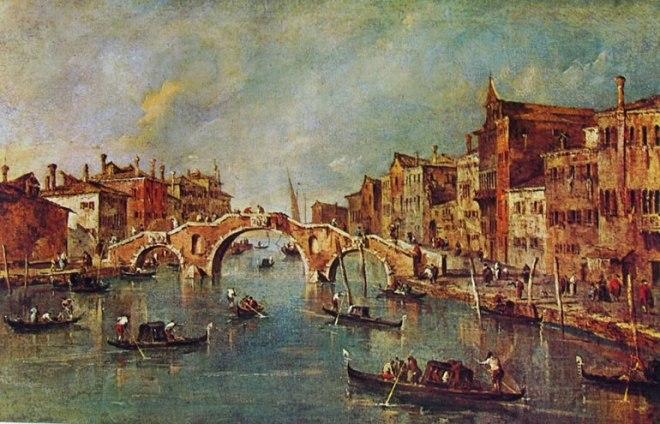 Francesco Guardi: Cannaregio dal ponte dei tre archi a Palazzo Surian Bellotto
