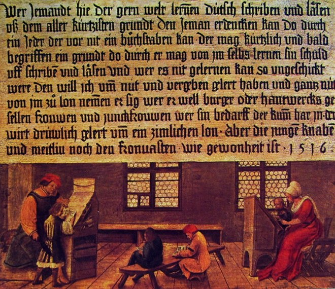 Hans Holbein il Giovane: Insegna di un maestro di scuola