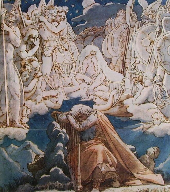 Jean-Auguste-Dominique Ingres: Il sogno di Ossian (acquerello)