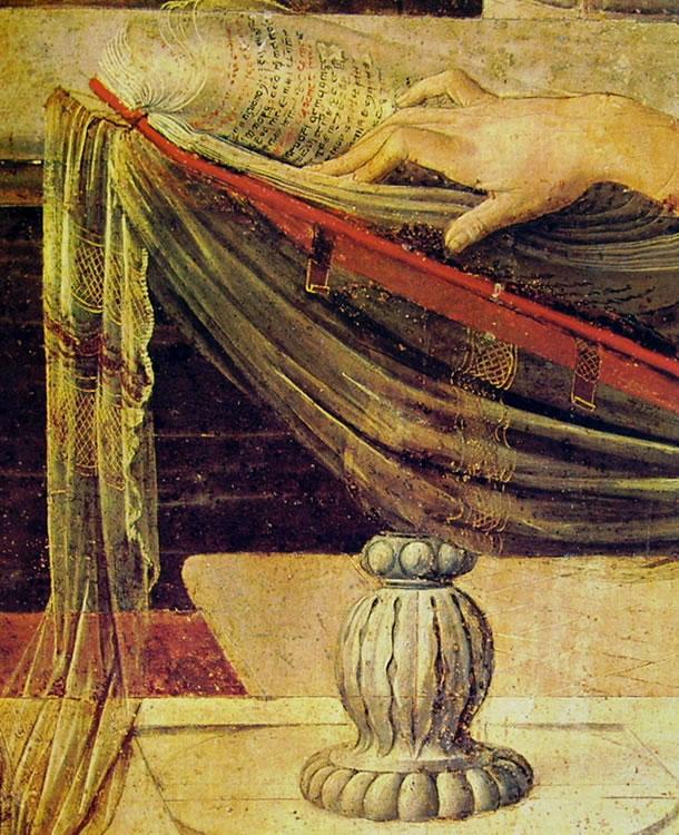 Leonardo da Vinci: L'annunciazione (particolare della mano e del leggio)