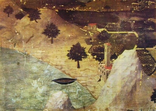 Ambrogio Lorenzetti: Un castello in riva ad un lago