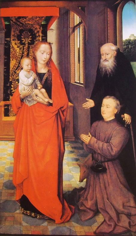 Hans Memling: Madonna col Bambino, Sant'Antonio abate e un devoto