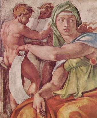 Michelangelo - Volta della Cappella Sistina, particolare della Sibilla Delfica