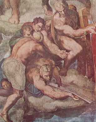 Il Giudizio Universale, partic. I presunti Longino, Simone Zelota e Filippo