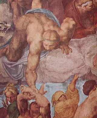 Giudizio Universale, particolare degli eletti ascendenti al cielo aiutati da angeli
