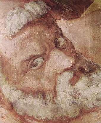 Michelangelo - La crocifissione di San Pietro, il S. Pietro, Cappella Paolina Vaticano