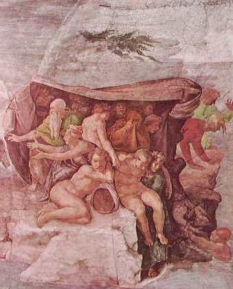 Michelangelo - Volta della Cappella Sistina, particolare del Diluvio Universale
