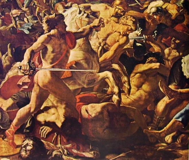 Nicolas Poussin: Particolare autografo della Battaglia di Giosuè contro gli amoriti
