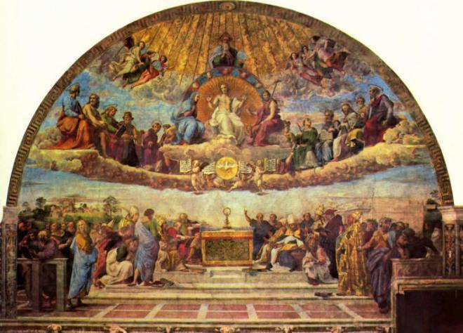 la disputa del Sacramento, nella stanza della Segnatura, Vaticano