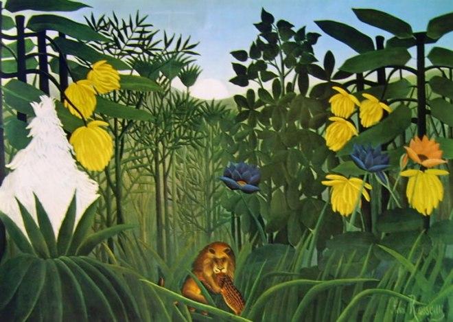 Rousseau il Doganiere: Pantera assalita da un leone