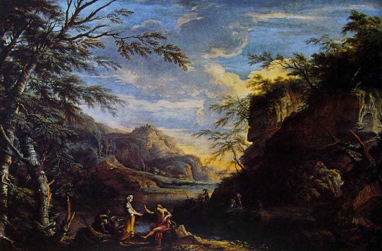 Paesaggio con Apollo e la Sibilla Cumana di Salvator Rosa