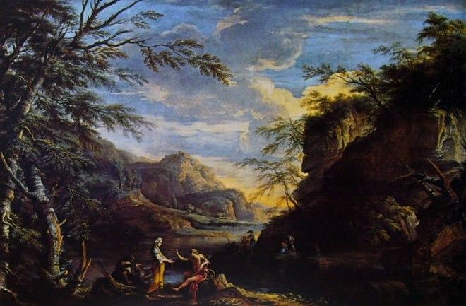 Salvator Rosa: Paesaggio con Apollo e la Sibilla Cumana