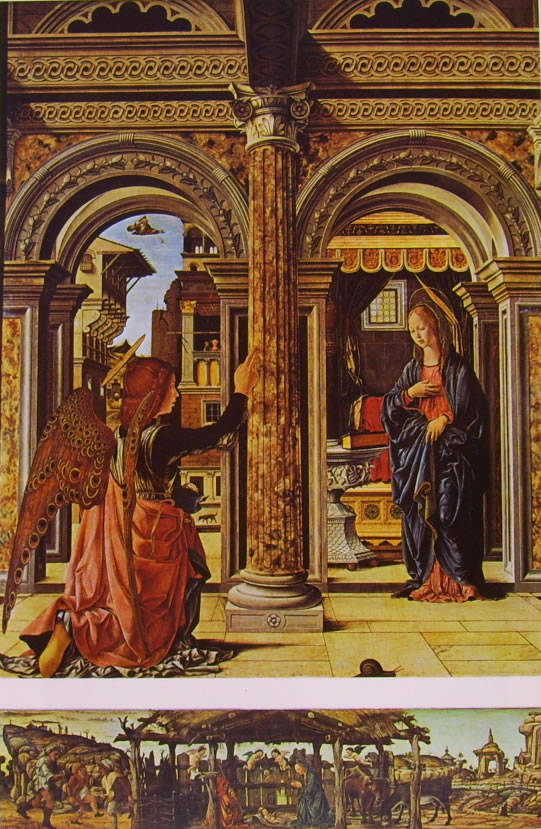Francesco del Cossa: Pala dell'Osservanza - L'annunciazione e la Natività