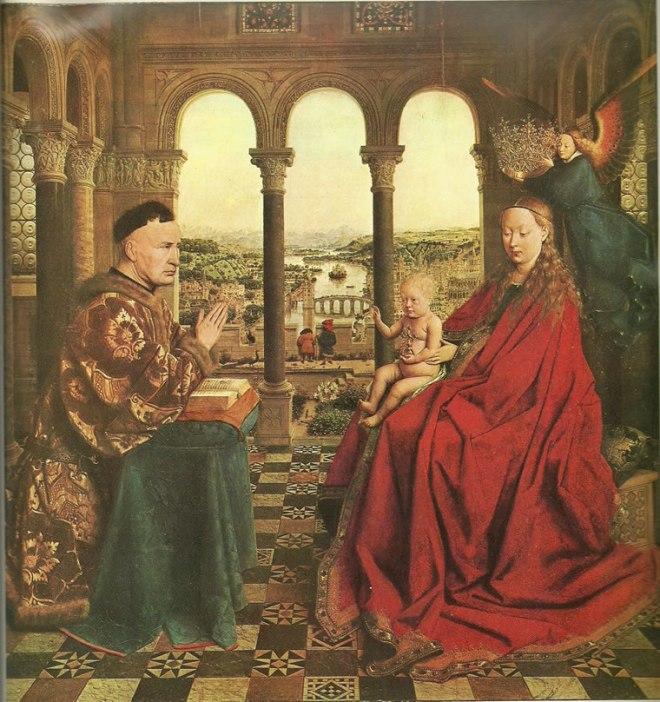 Jan van Eyck:Madonna del cancelliere Rolin (Madonna col Bambino incoronata da un angelo)