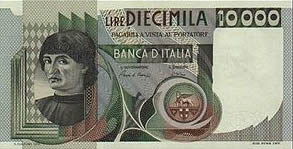 10.000 lire con la raffigurazione del busto d'uomo di Andrea del castagno