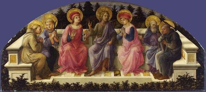 Sette santi, 1453-59, cm. 68 x 151,5