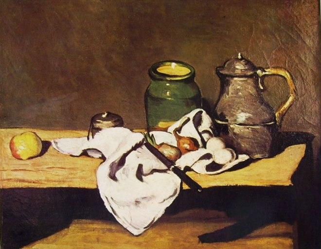 Paul Cezanne: Natura morta con vaso caffettiera e frutta