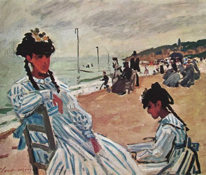 Camille Monet e la cugina sulla spiaggia