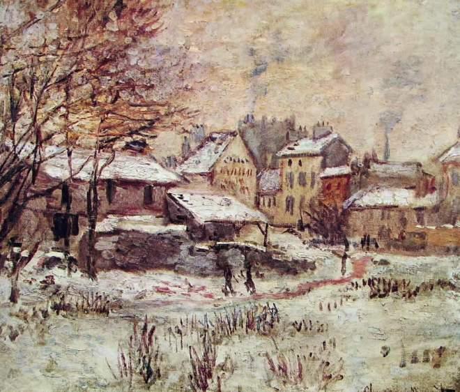 Claude Monet: Effetto neve al tramonto ad Argenteuil