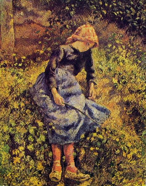 Camille Pissarro: Fanciulla con la verga (contadina seduta)