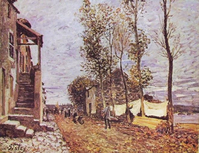 Alfred Sisley: Vecchie case a Saint Mammès.- Autunno