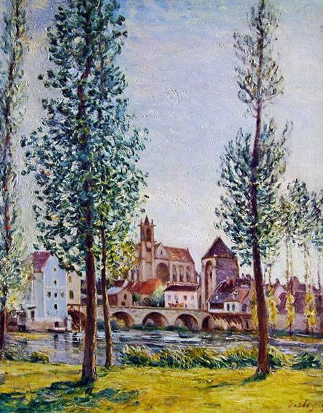 Alfred Sisley: Moret-sur-Loing: il ponte, la chiesa e i mulini