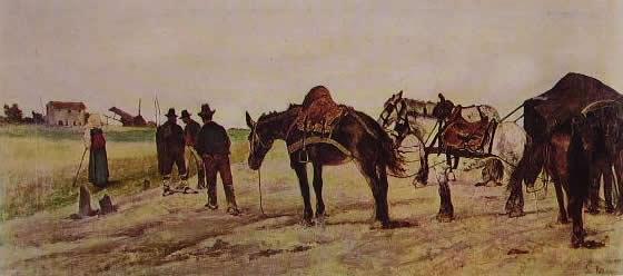 Fattori - Carro e contadini nella campagna romana