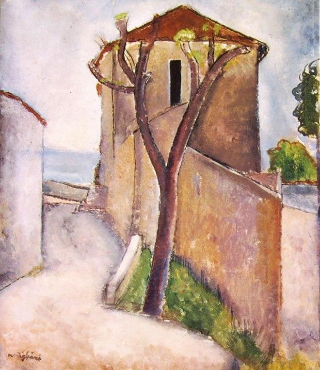 Amedeo Modigliani: Albero e case