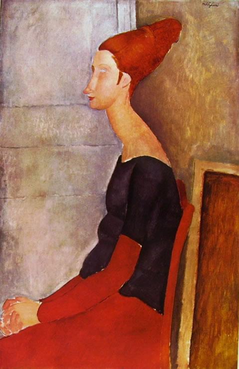 Amedeo Modigliani: Jeanne Hébuterne seduta, in profilo, con vestito scuro