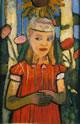 Bambina in abito rosso e girasole