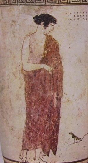 """""""Pittore di Achille"""": Particolare del Lekithos di Lugano - Musa in piedi"""